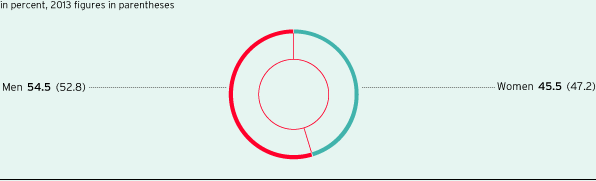 Proportion of women and men in the whole Group (pie chart)